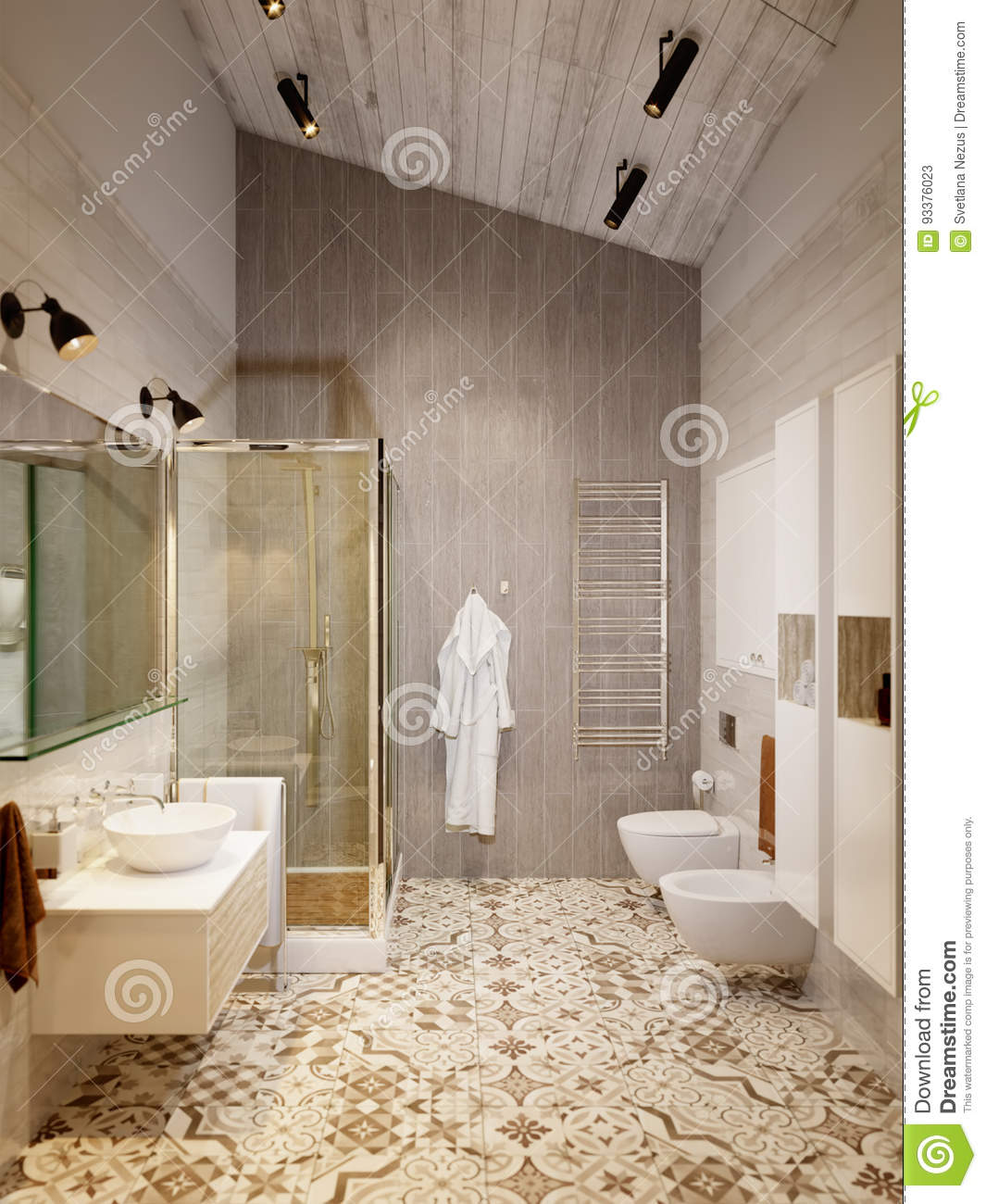 Wc Design rustic provence loft bathroom shower wc room stock illustration