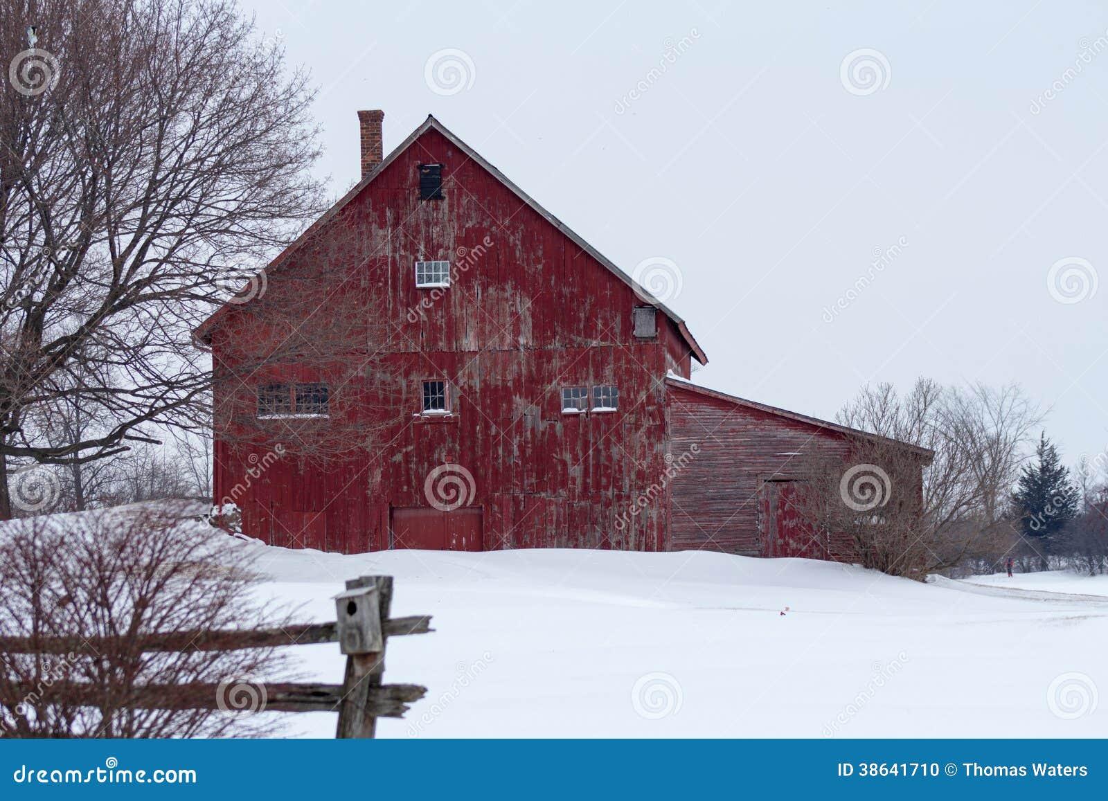 Rustic Red Winter Barn Stock Photo Image 38641710