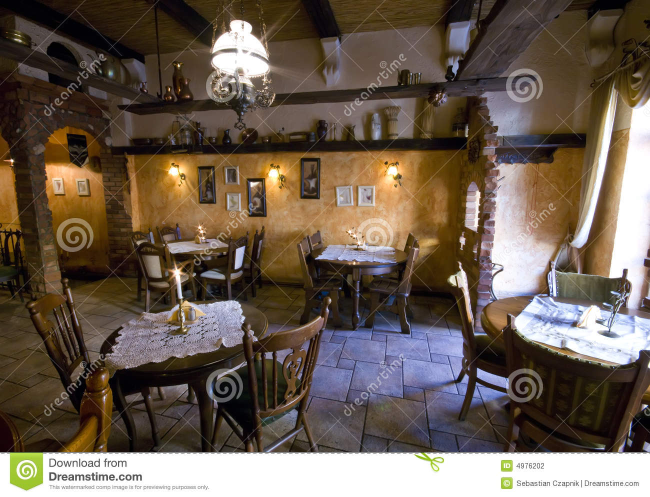 Rustic restaurant stock photography image 4976202 for Adornos para bares rusticos