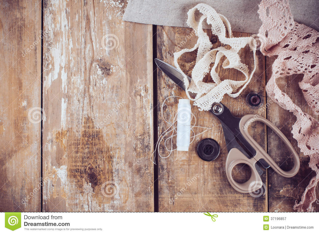 Rustic Sewing Background Royalty Free Stock Photography - Image ...
