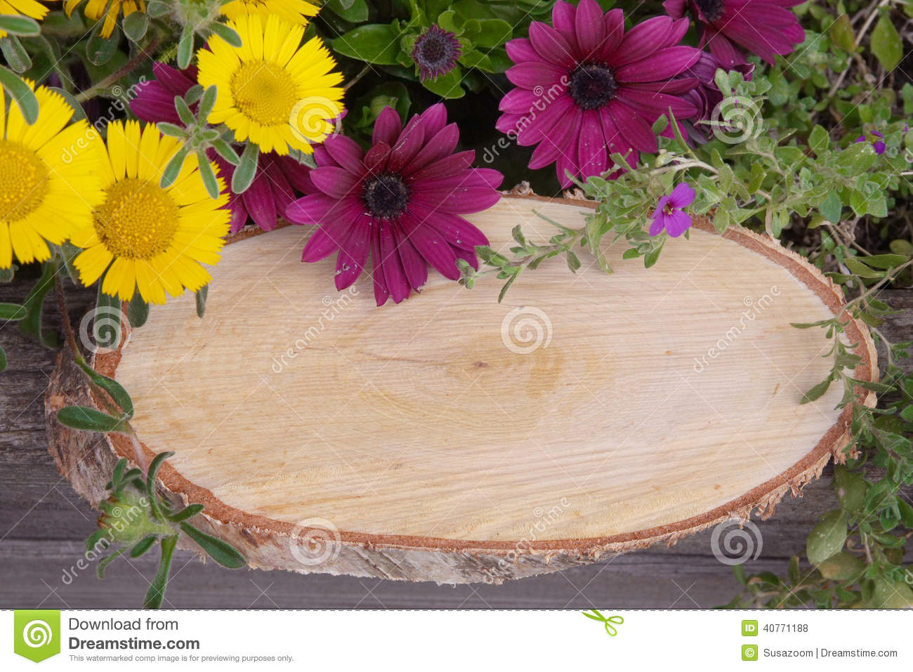 Rustic signboard with flowers and copy space