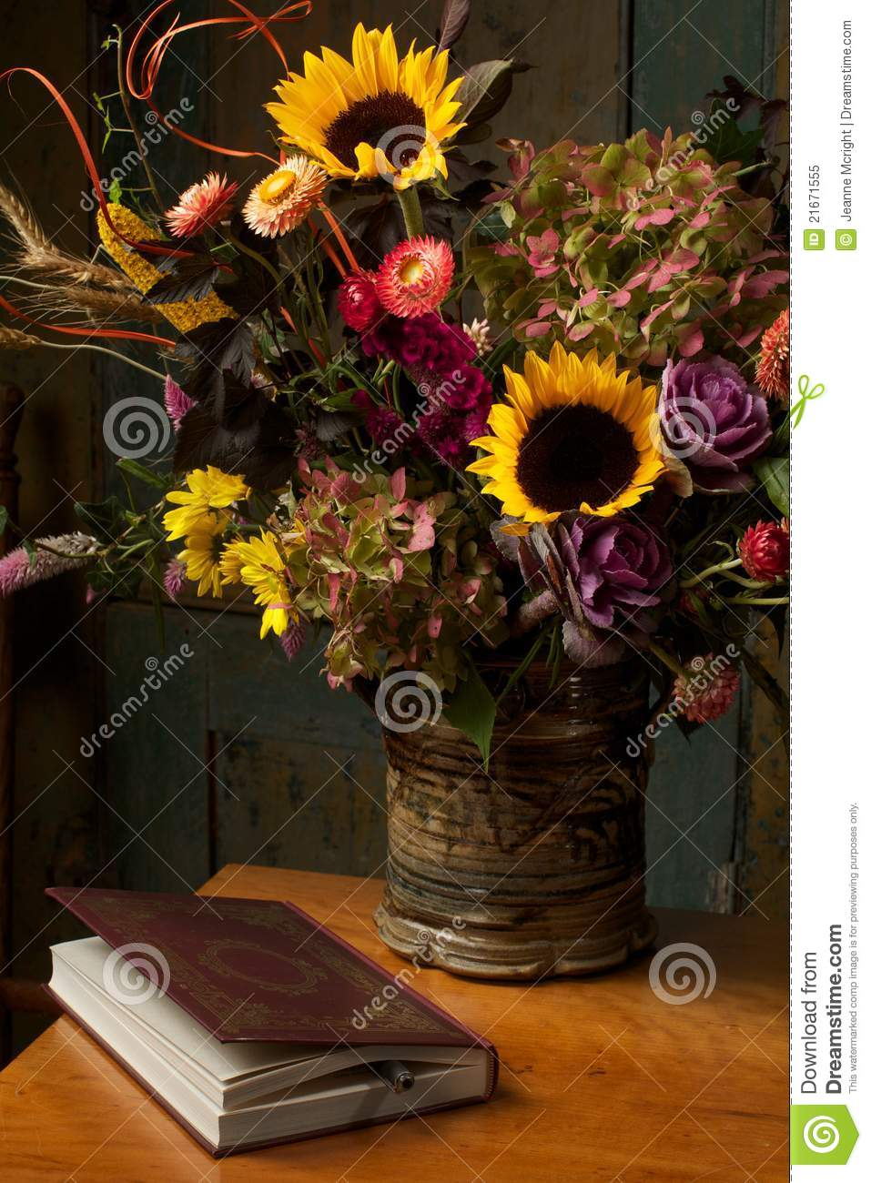 Rustic Still Life With Autumn Flowers And Book Stock Image Image 21671555