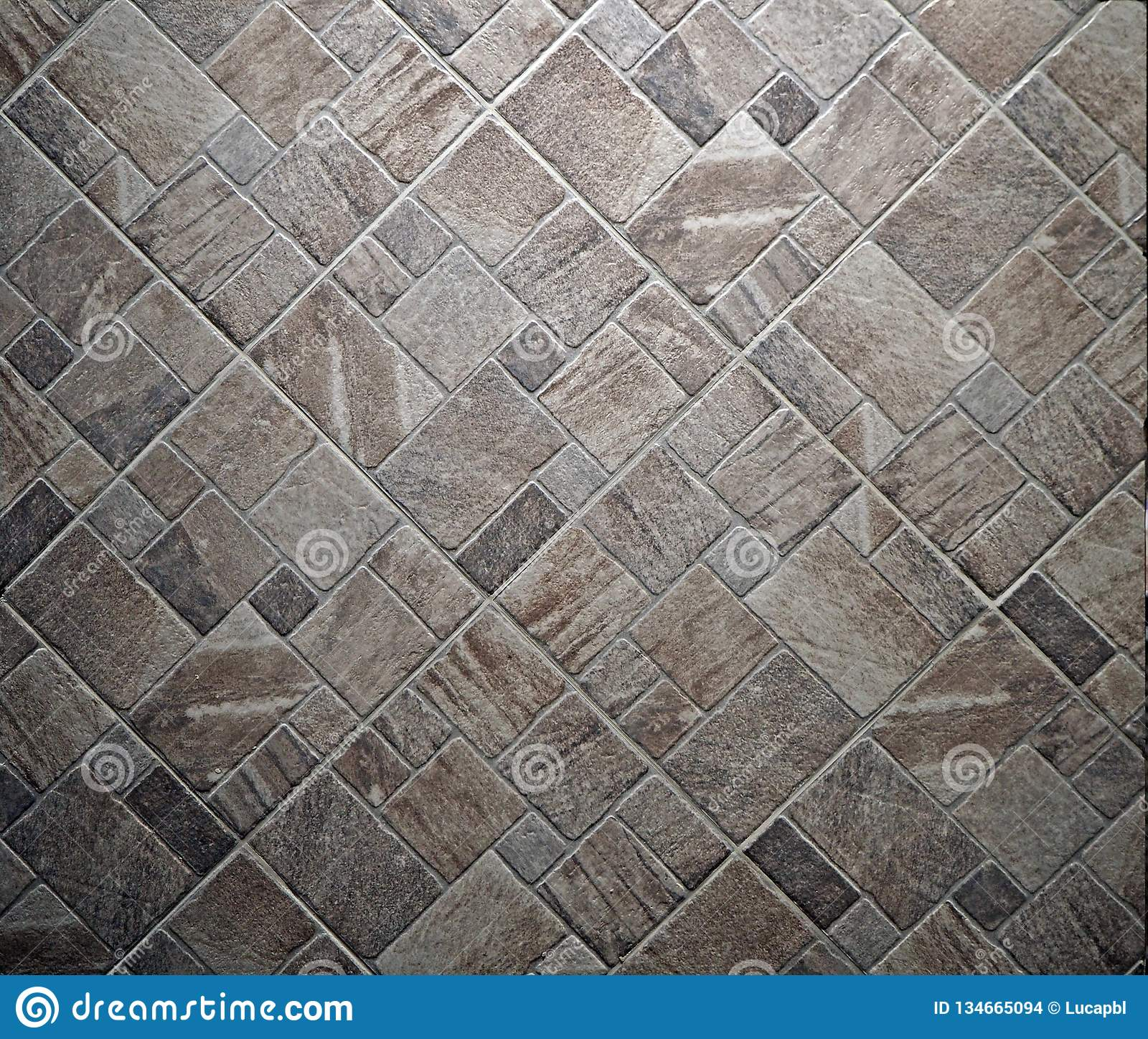 Rustic Stone Floor With Different Size And Shapes Tiles Top View