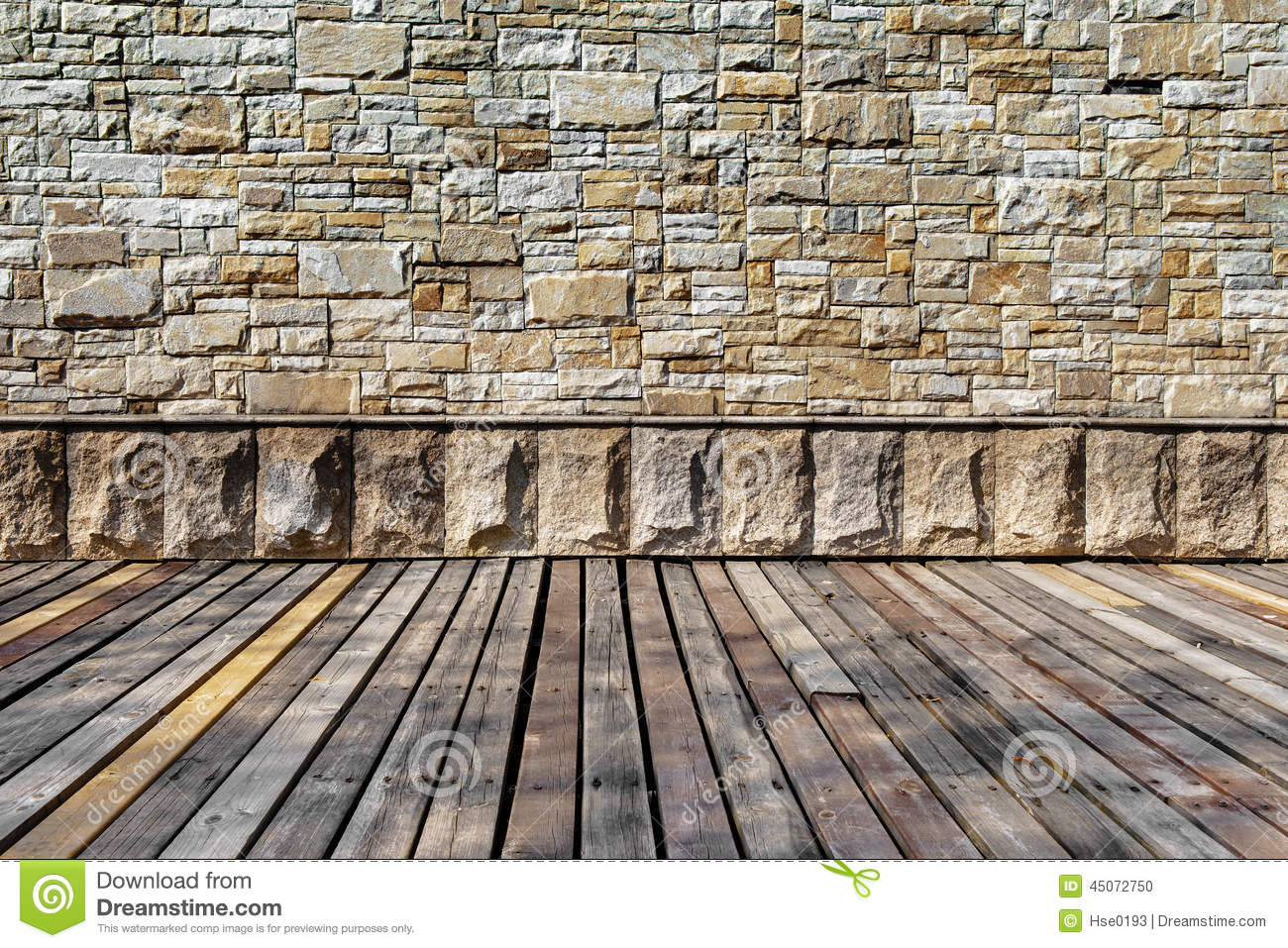 Rustic Stone Wall And Wooden Floor