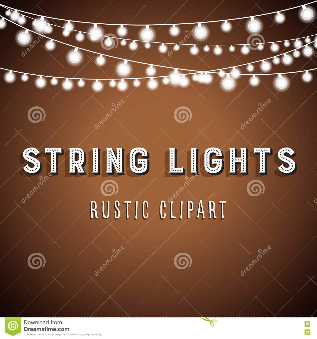 Rustic String Lights Background Stock Vector - Image: 76680244