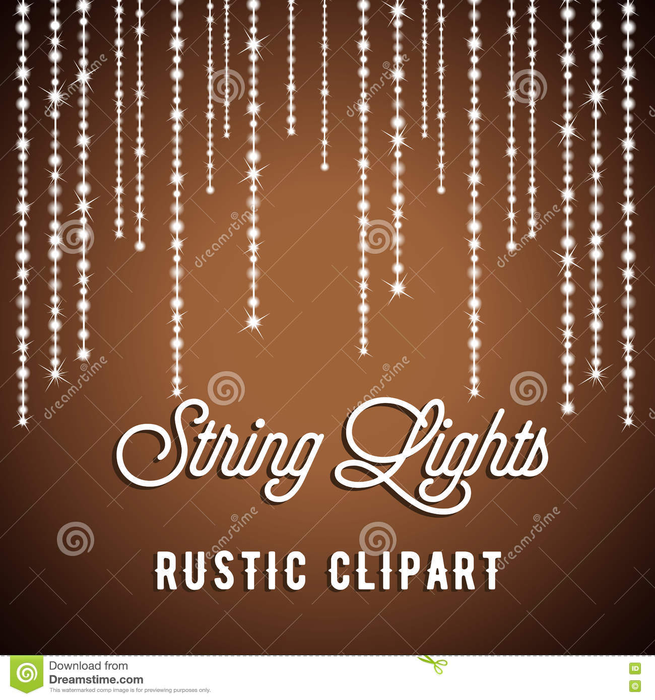 Rustic String Lights Vector Clipart EPS 10