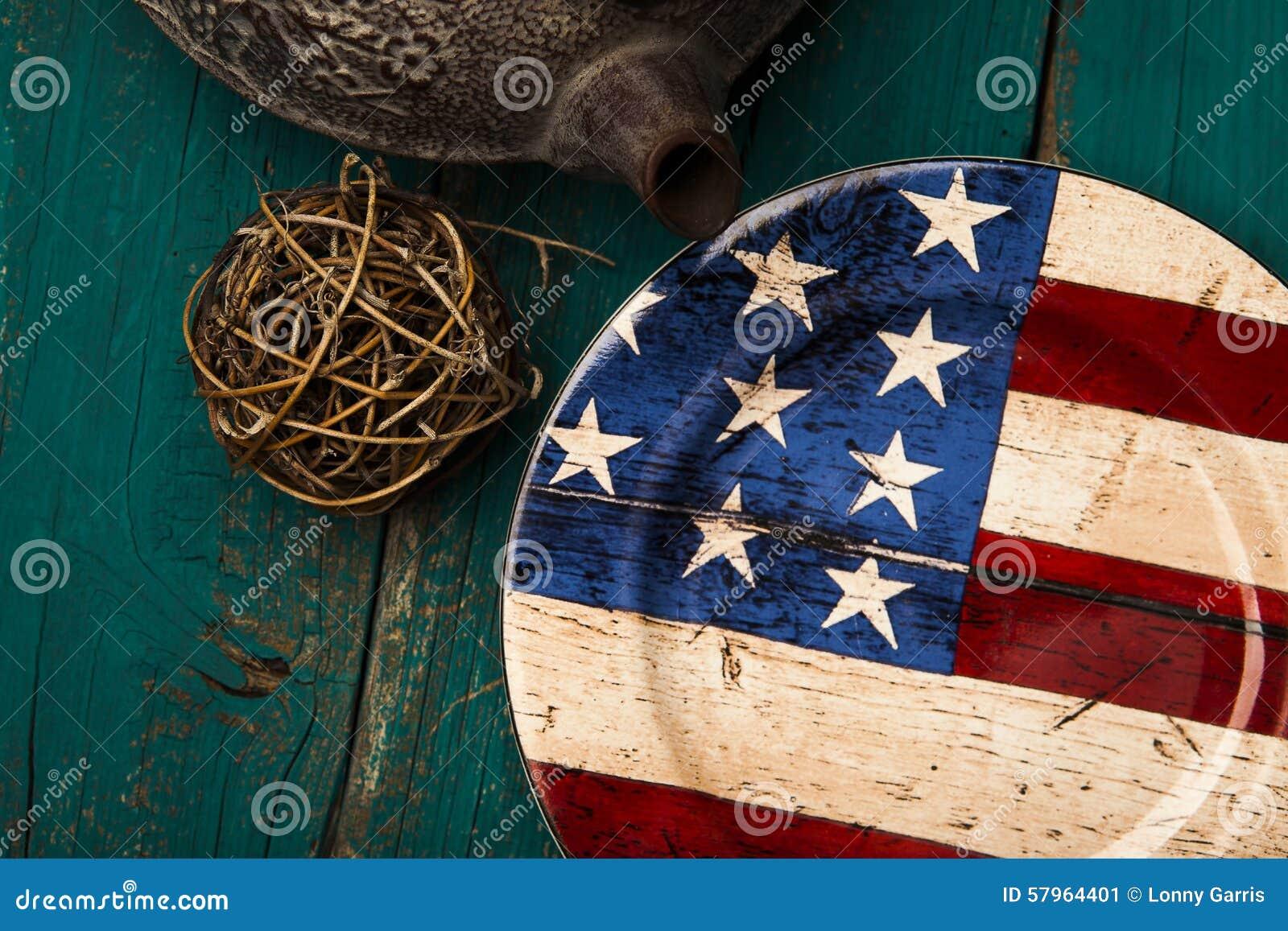 American table setting - American Flag Plate Rustic Setting Table
