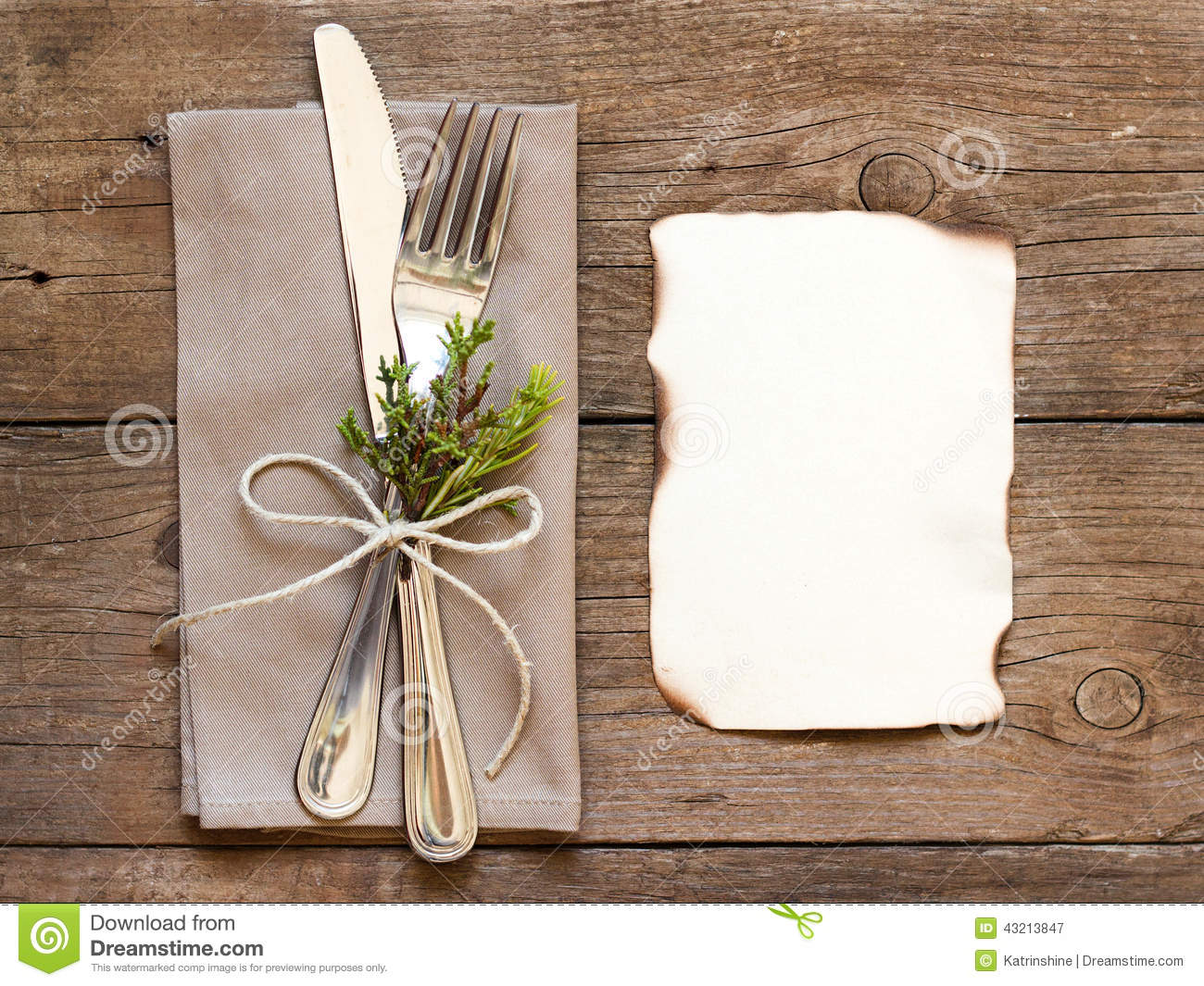 Rustic Table Setting And Old Burned Paper Stock Photo
