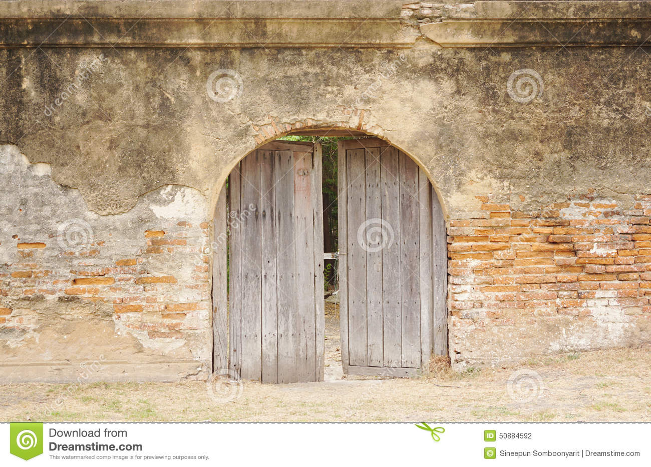 Rustic Timber Arch Door Stock Photo Image 50884592