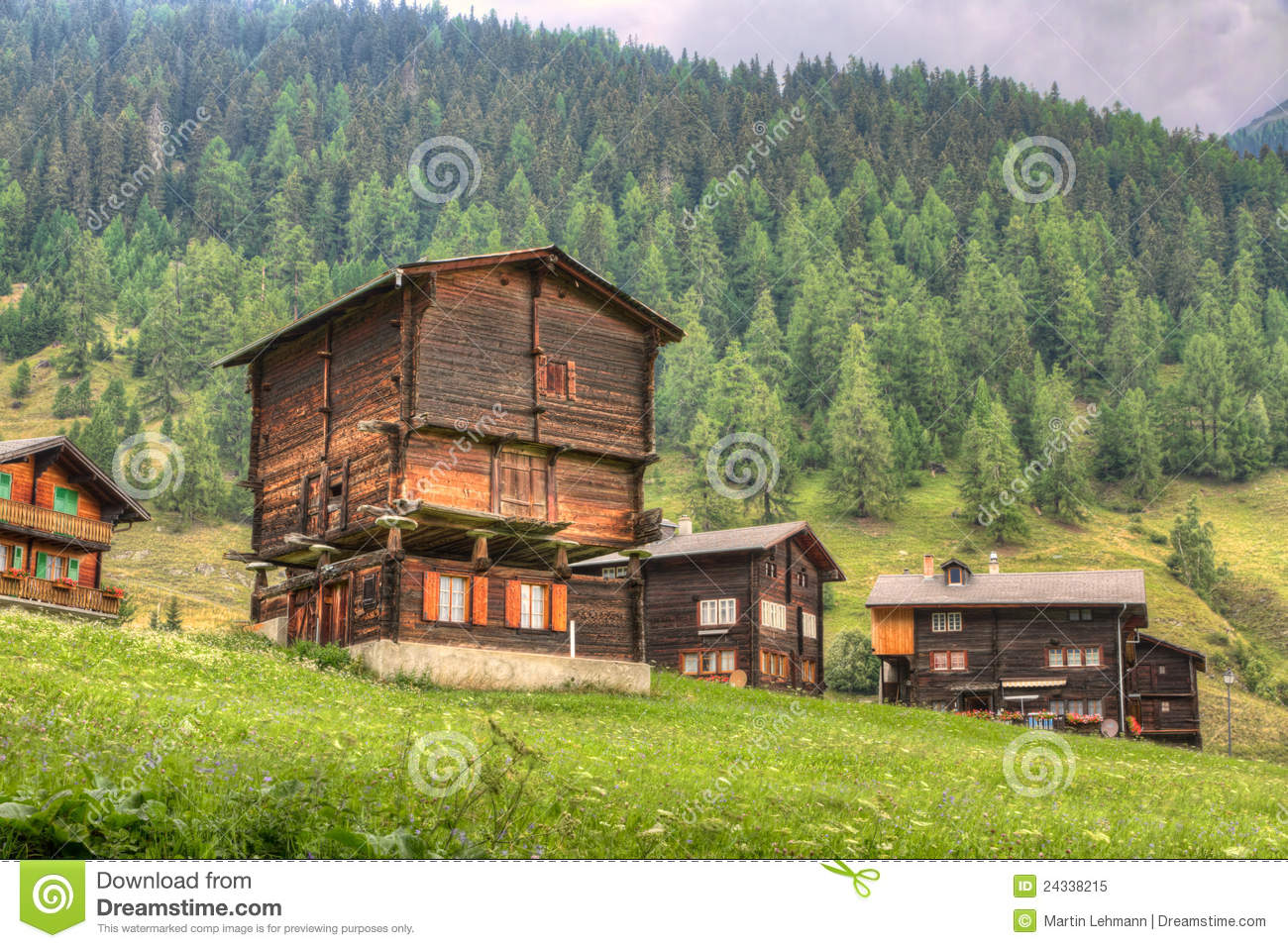 Rustic Timber House Switzerland Royalty Free Stock Photo