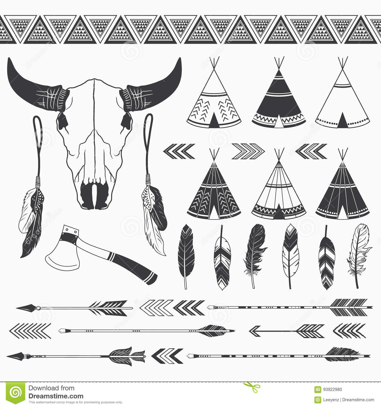 Rustic tribal collection stock vector illustration of headdress rustic tribal collection kristyandbryce Gallery