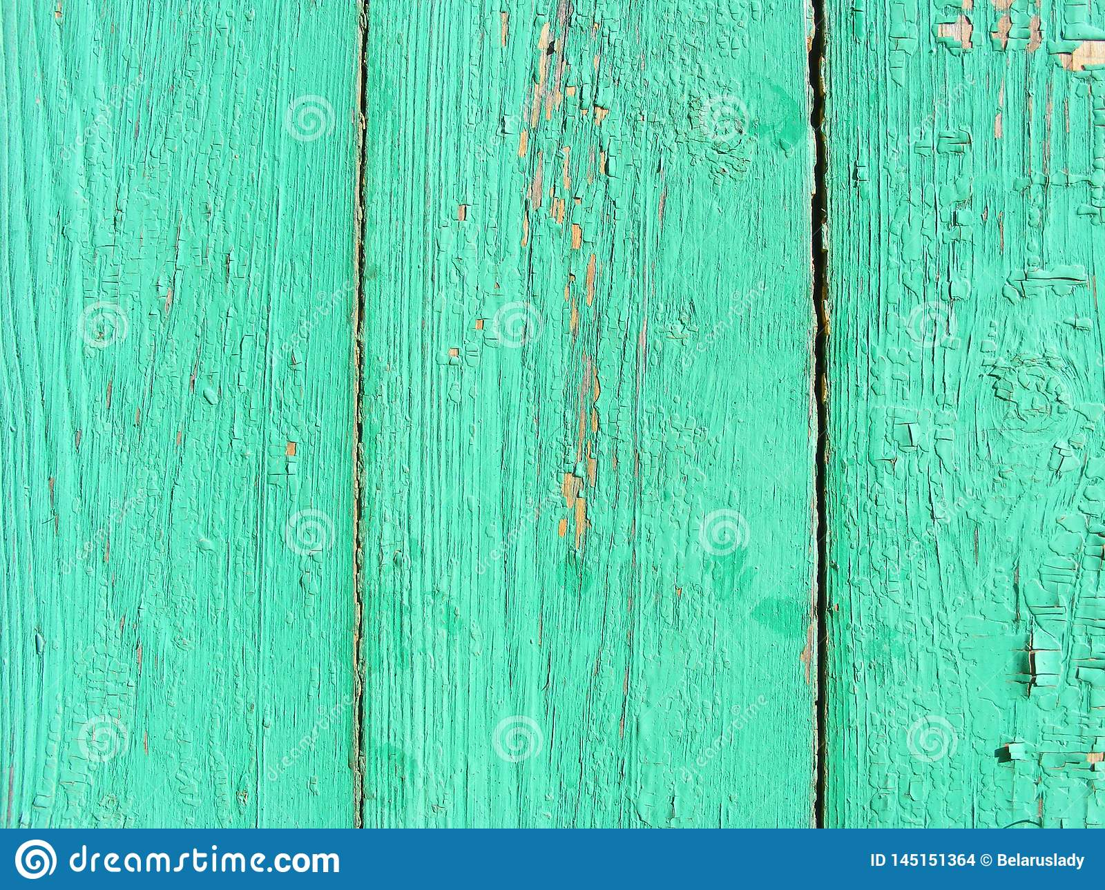 Rustic vertical plank background of green and turquoise, weathered texture with copy space