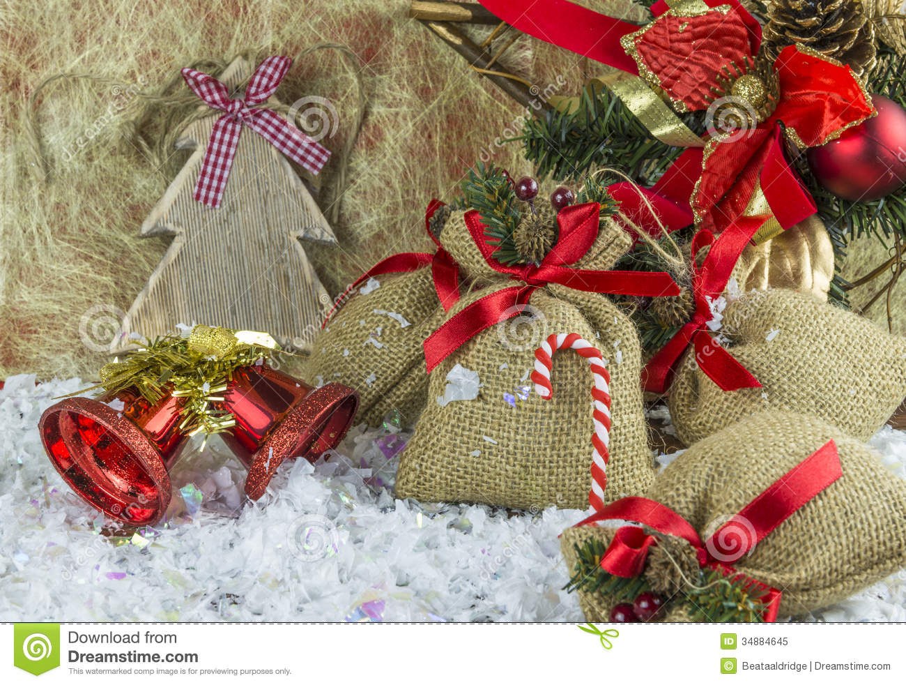 Rustic Vintage Christmas Decorations Stock Image Image