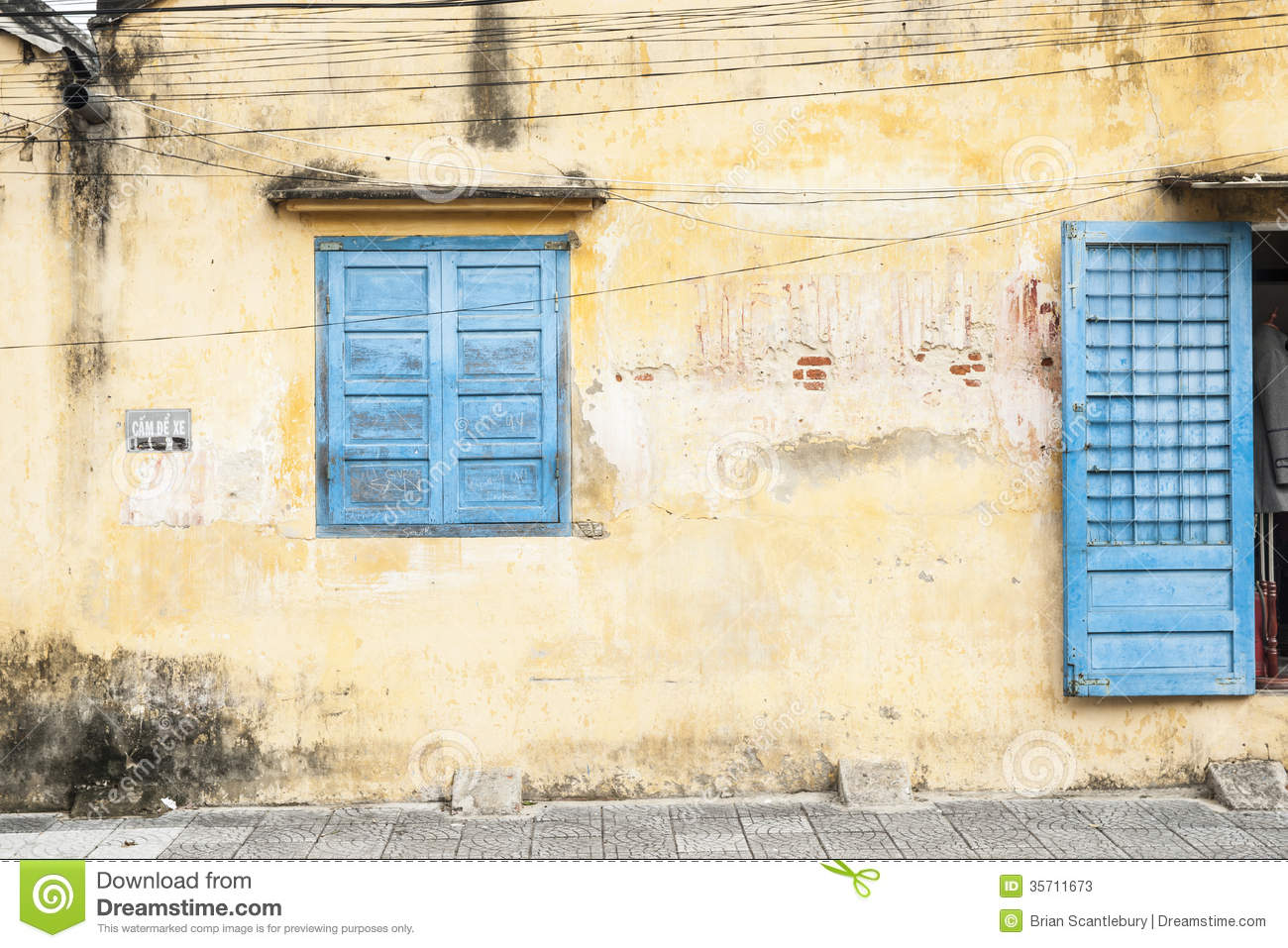 Rustic Wall With Blue Door And Window Stock Image Image