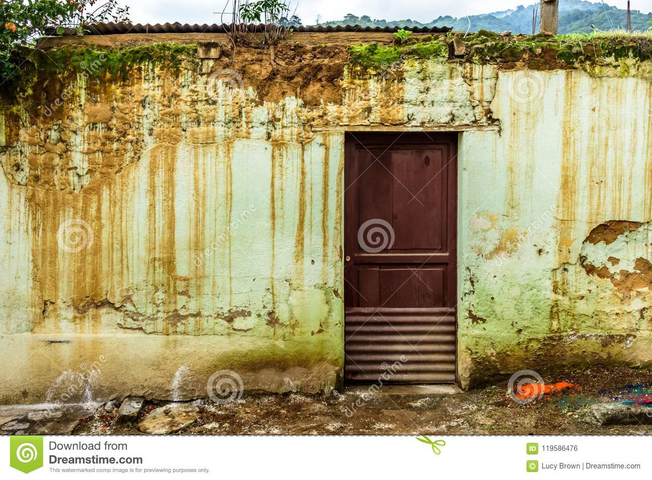Rustic, weathered house exterior, Central America