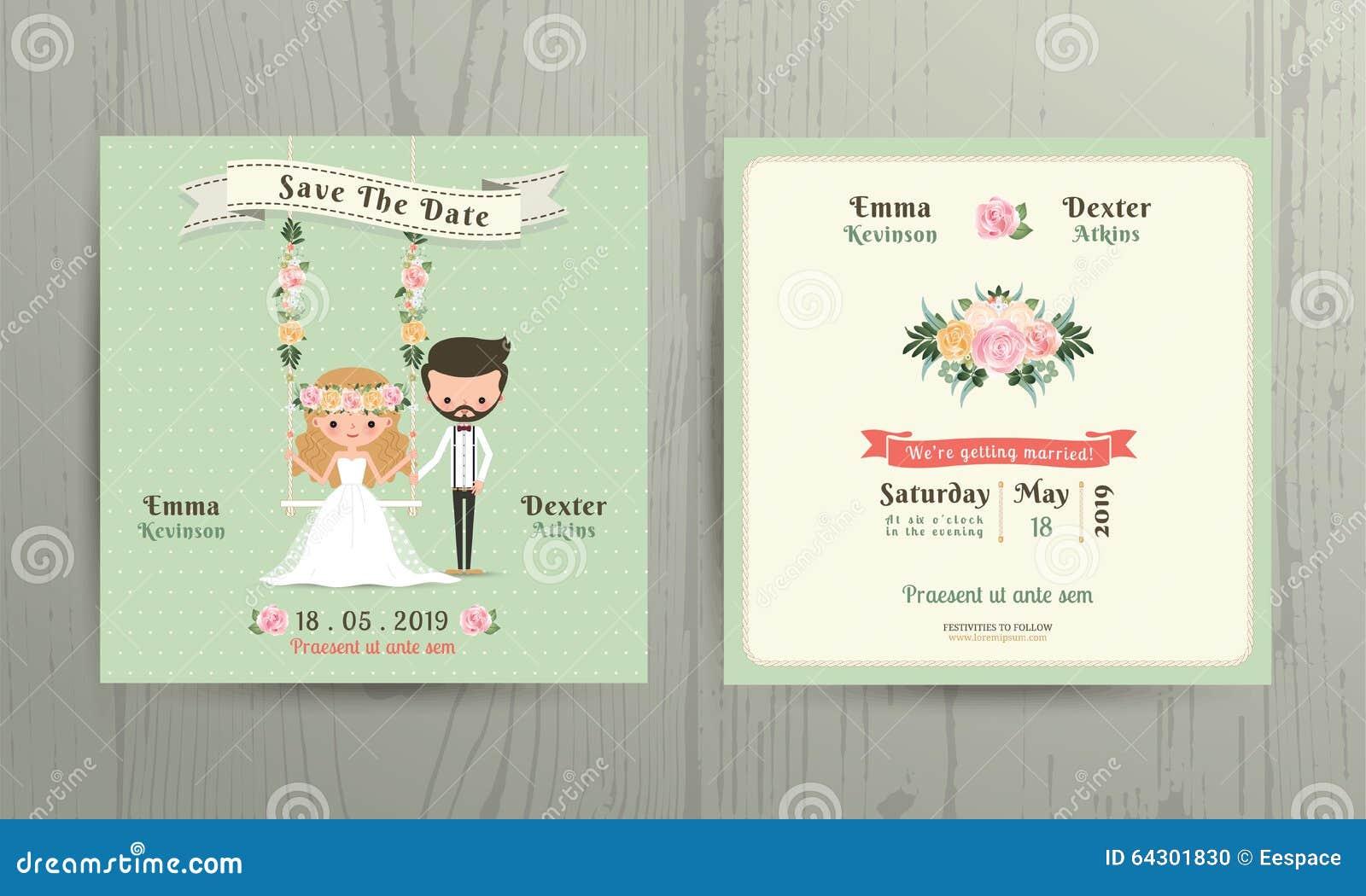 Rustic Wedding Cartoon Bride And Groom Couple Invitation Card Stock