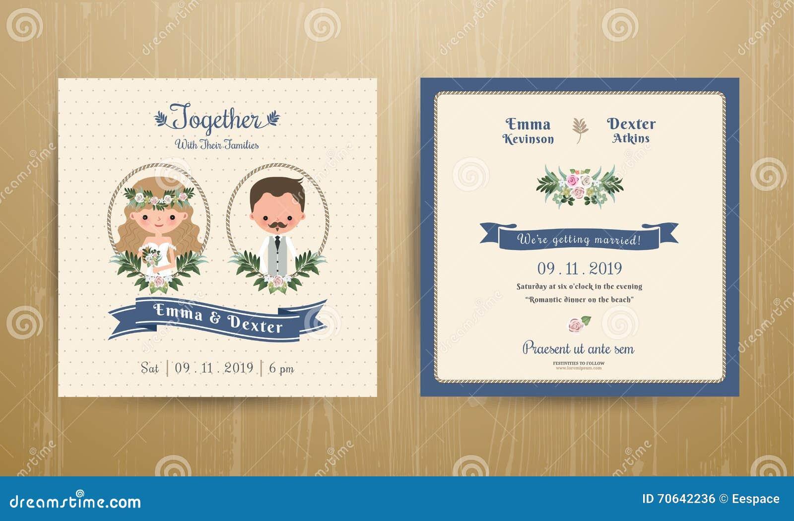 Wedding Invitation Card Rustic Cartoon Bride And Groom Stock Vector ...