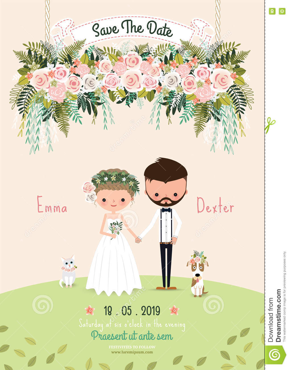 rustic wedding couple save the date invitation card floral blossom
