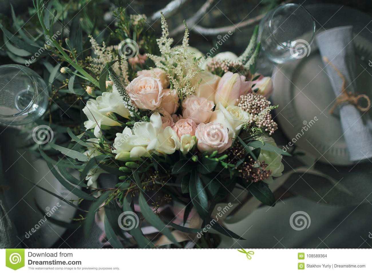 Rustic Wedding Decoration A Bouquet Of Different Flowers On The