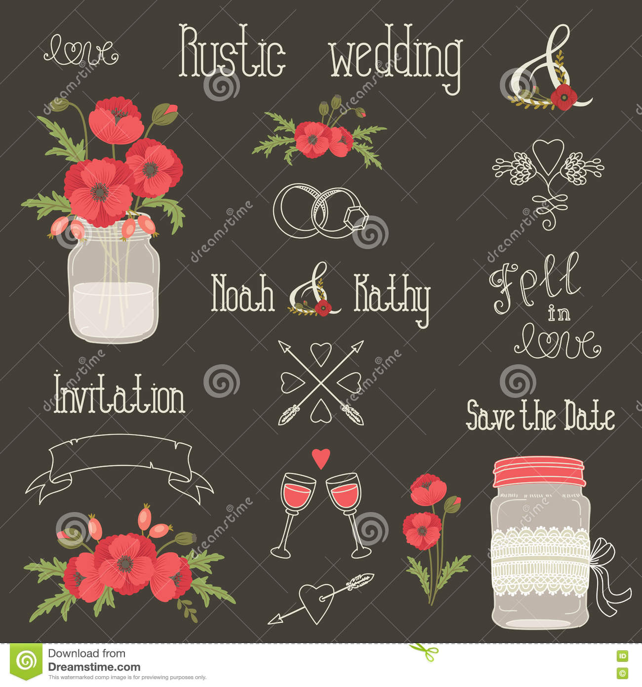 Rustic Wedding Design Elements With Poppy Flowers Stock Vector