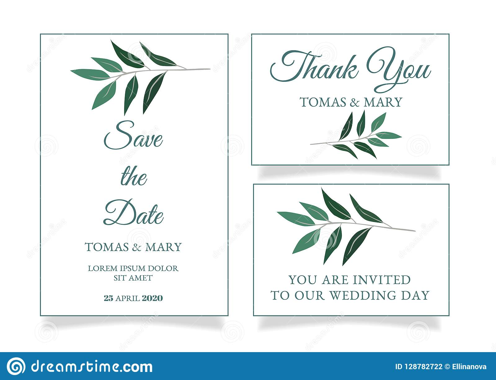 rustic wedding invitation template with little green leaf stock