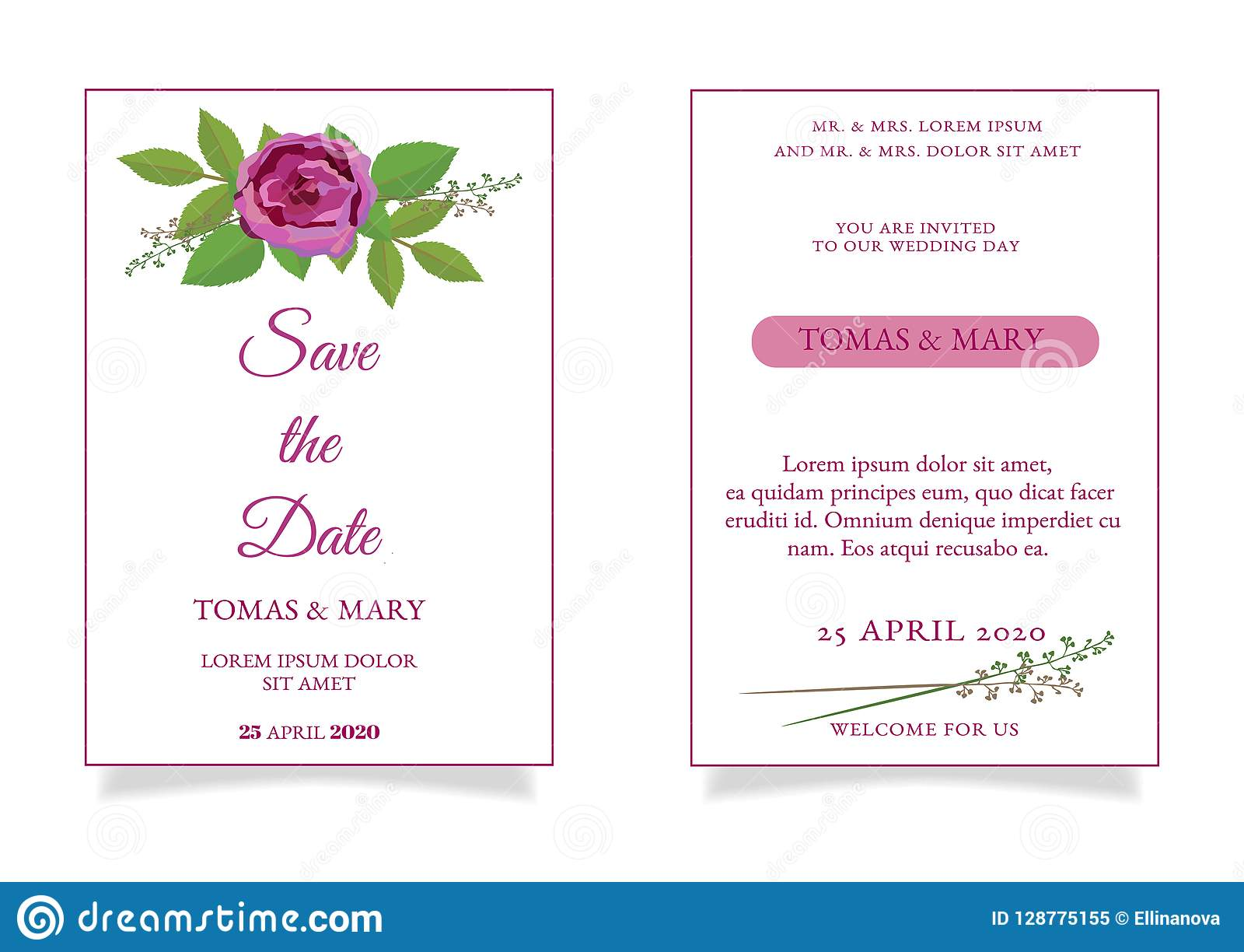 Rustic Wedding Invitation Template With Rose And Leaf Stock Vector
