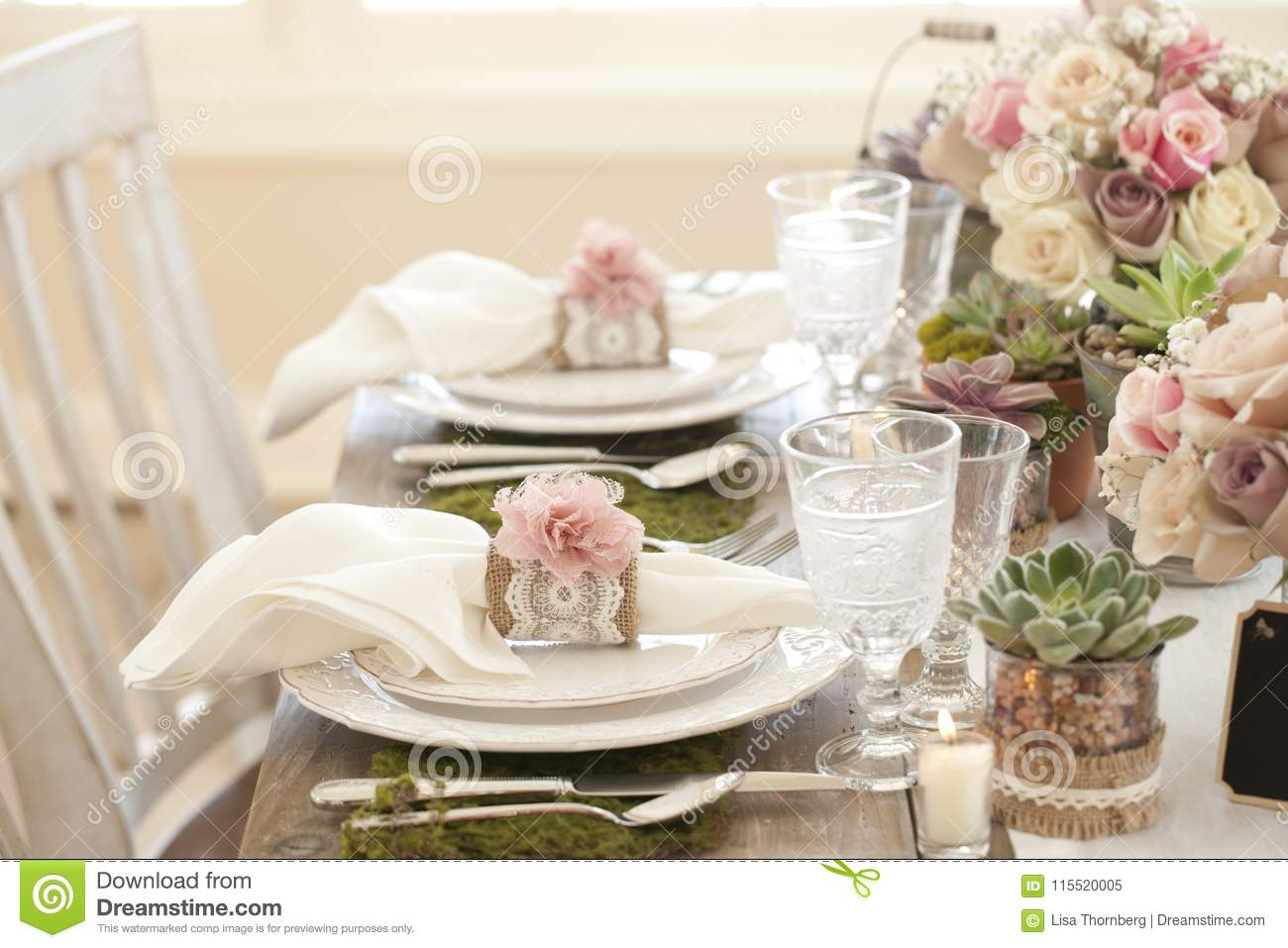 Rustic Wedding Reception Eco Friendly Dining Table Place Settings ...