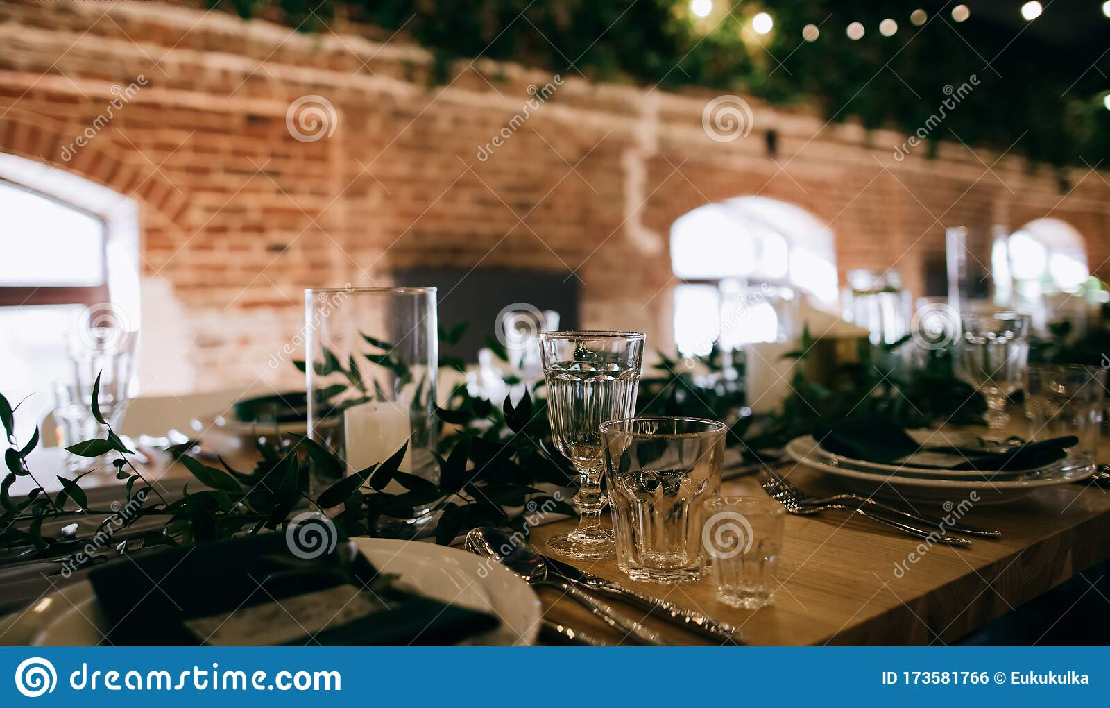 Rustic Wedding Table Decor For Restaurant Dinner Table Set Stock Photo Image Of Drink Rustic 173581766