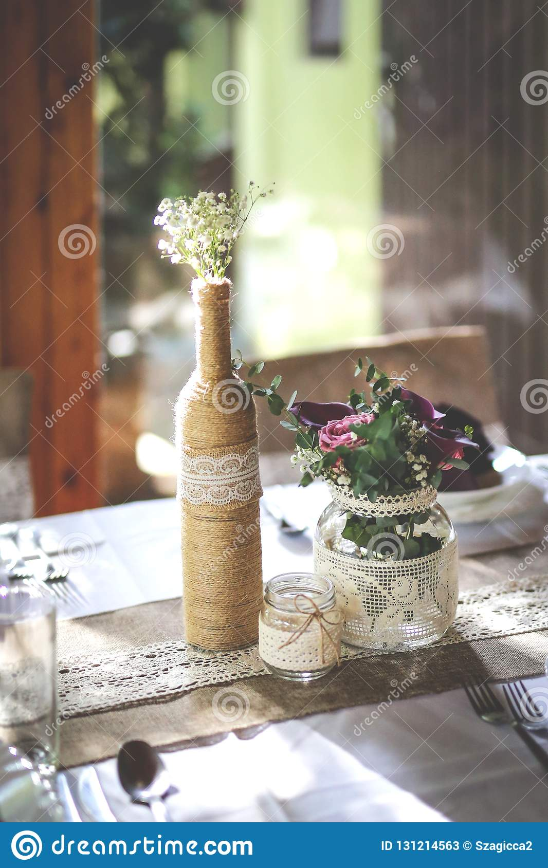 Rustic Wedding Table Set With Glass Bottle And Bouquet Stock Image Image Of Glass Date 131214563