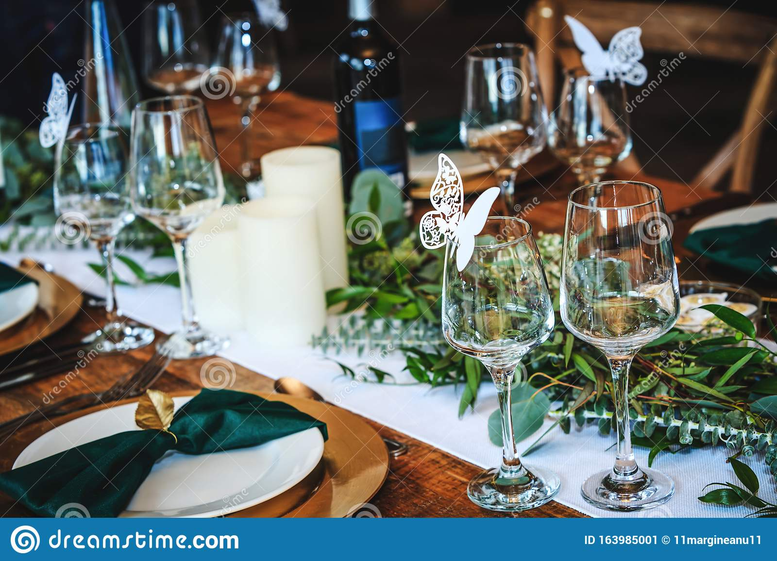 Rustic Wedding Table Setting In Fancy American Restaurant Vintage Decoration Of Reception Table Elegant Arrangement Of The Stock Image Image Of Dinnerware Food 163985001