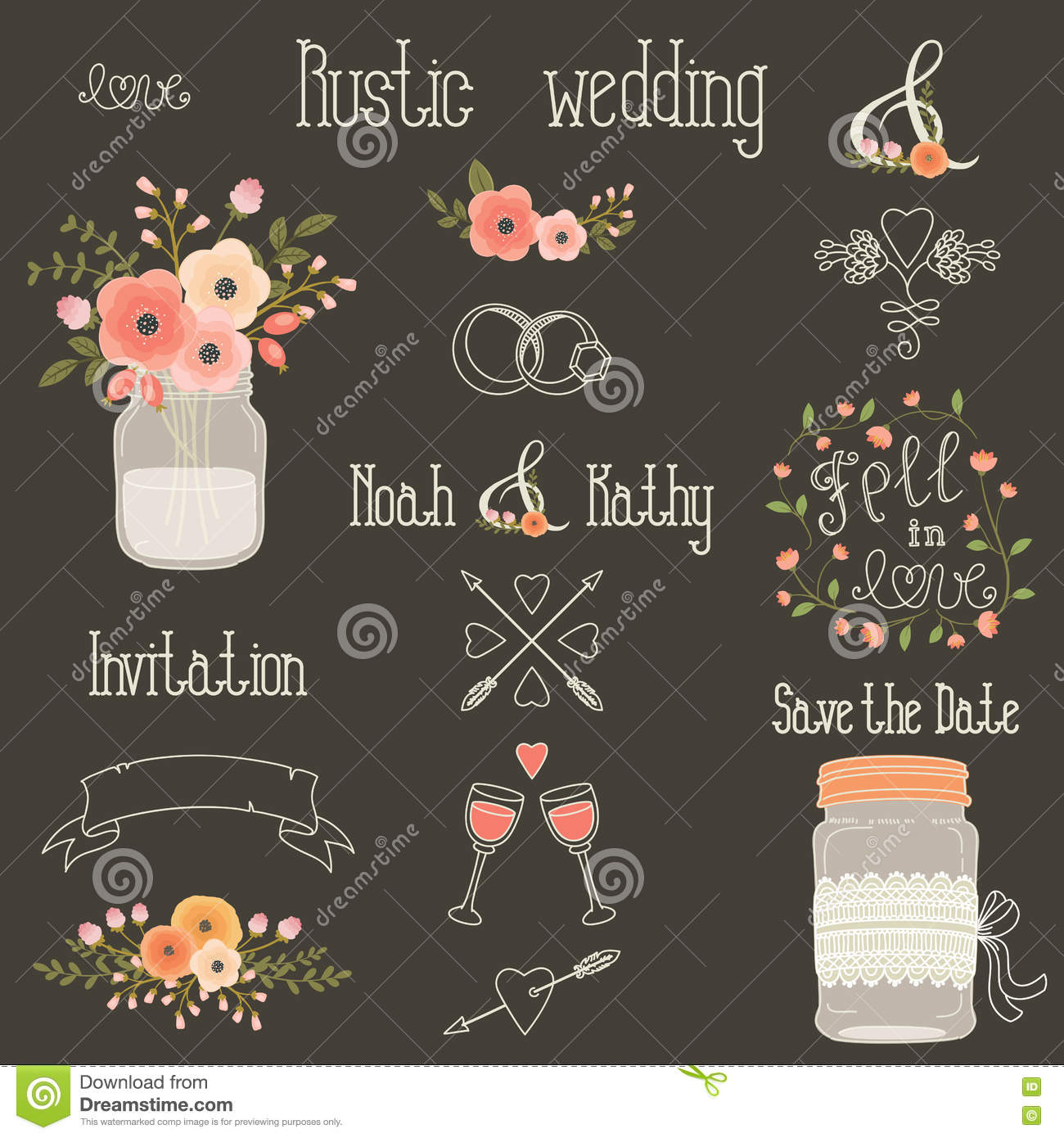 rustic wedding vector design elements stock vector image