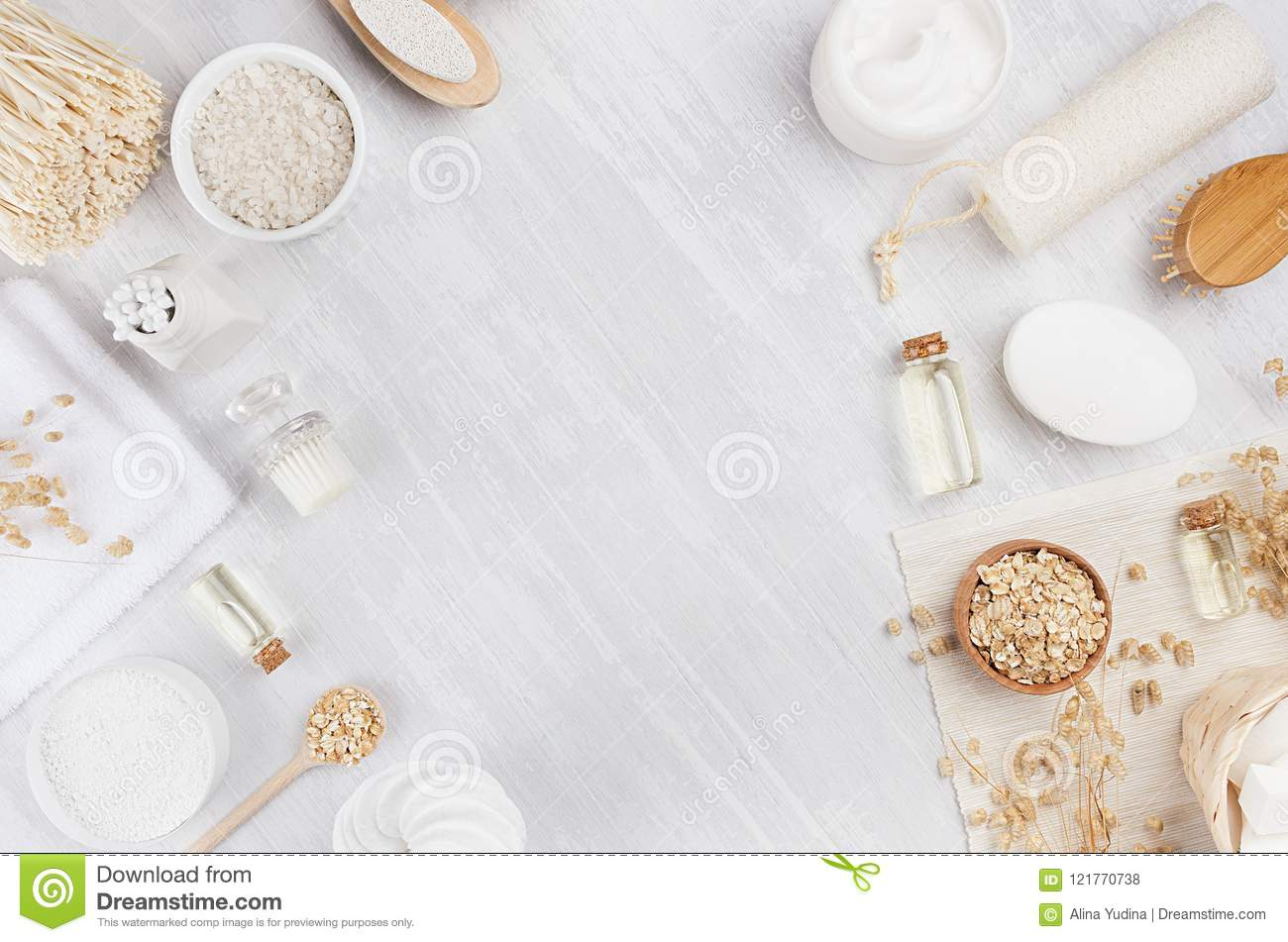 Rustic White Homemade Cosmetics Set Of Natural Products For Body ...