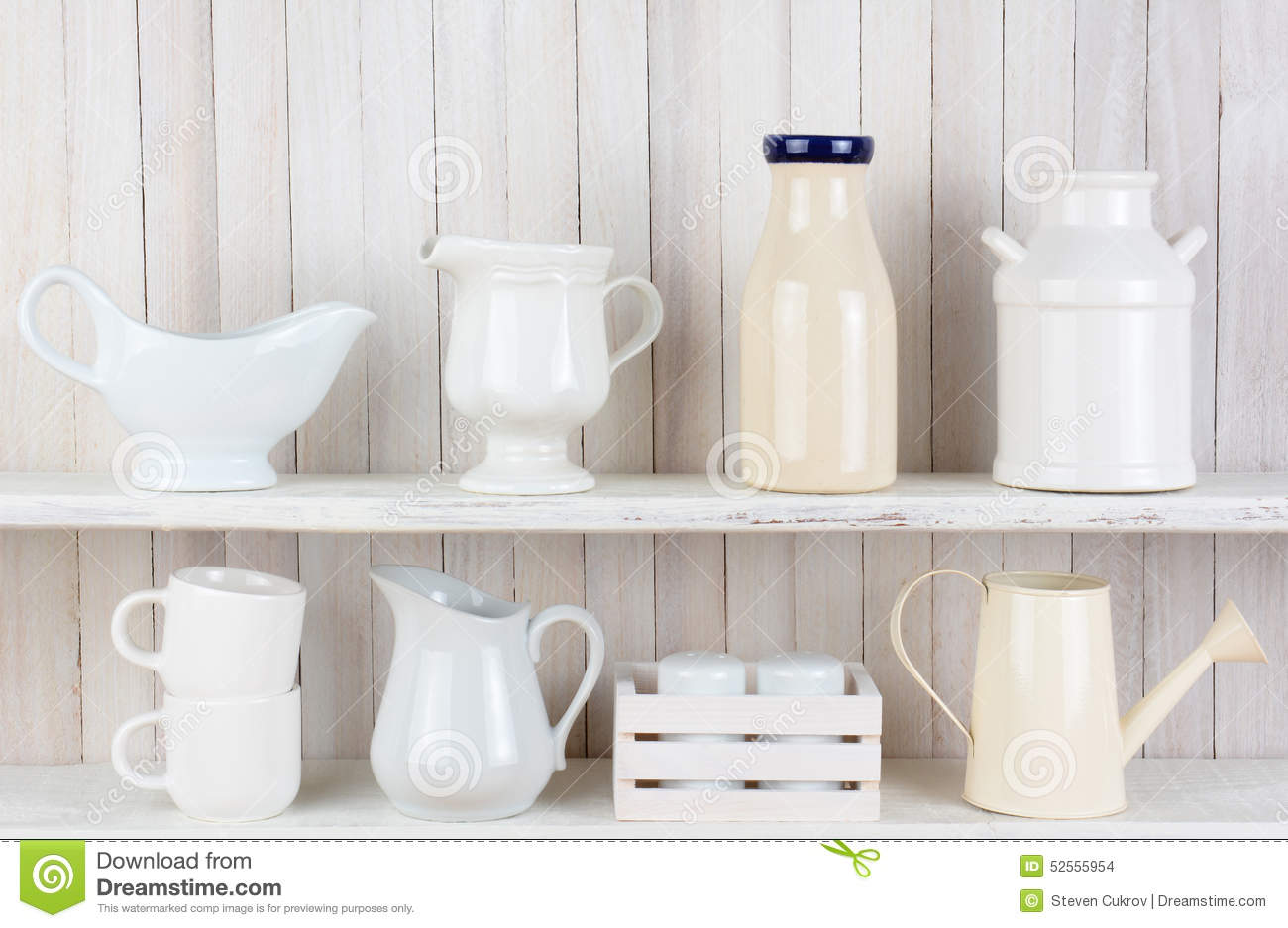 White Kitchen Shelves rustic white kitchen shelves stock photo - image: 52555954
