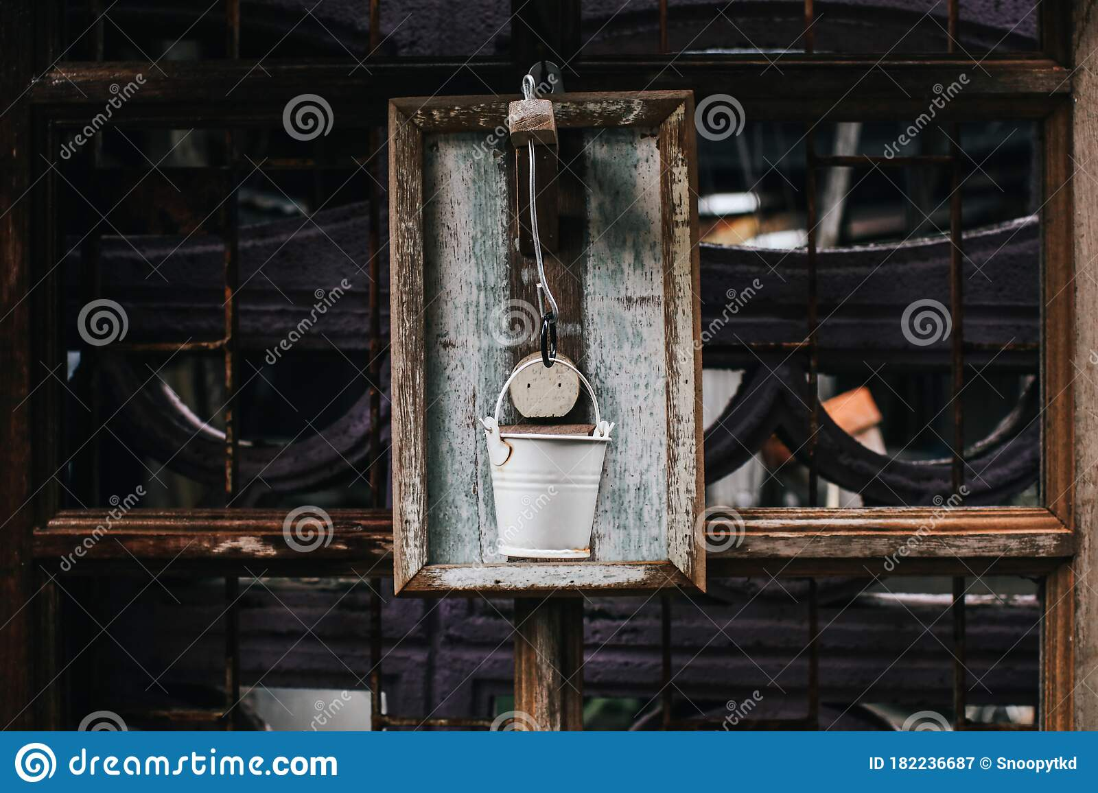 Rustic White Painted Can On White Hanging On Wall Outdoors Aged Rusty Iron Little Bell Concept Decor Element In Interior Of Deck Stock Image Image Of Decoration History 182236687