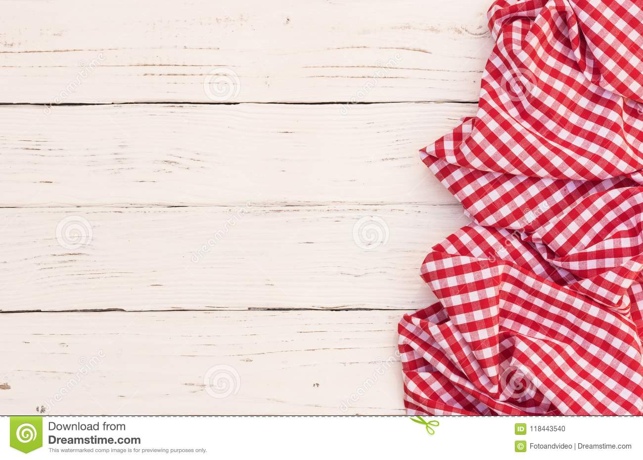 Rustic White Kitchen Table Background With Red Checked Tablecloth Stock Photo - Image Of Backdrop, Pattern: 118443540