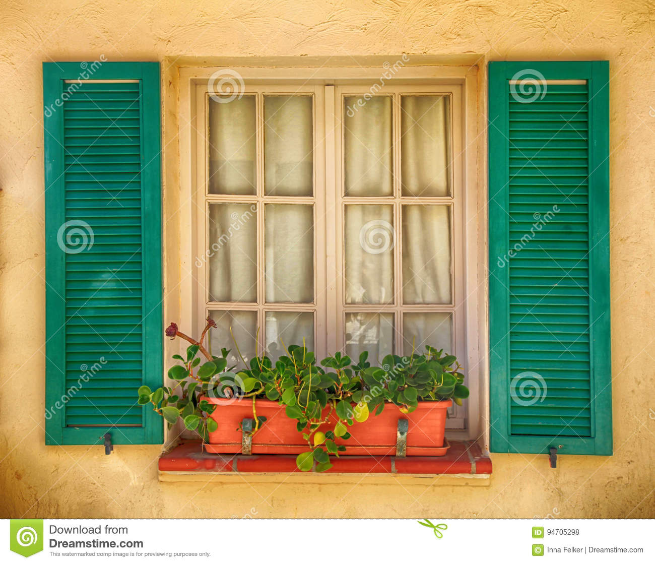 Rustic Window With Old Green Shutters And Flower Pot Stock Photo ...