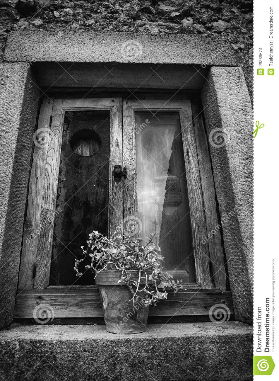 Rustic Window With Potted Plant Stock Images Image 29369574