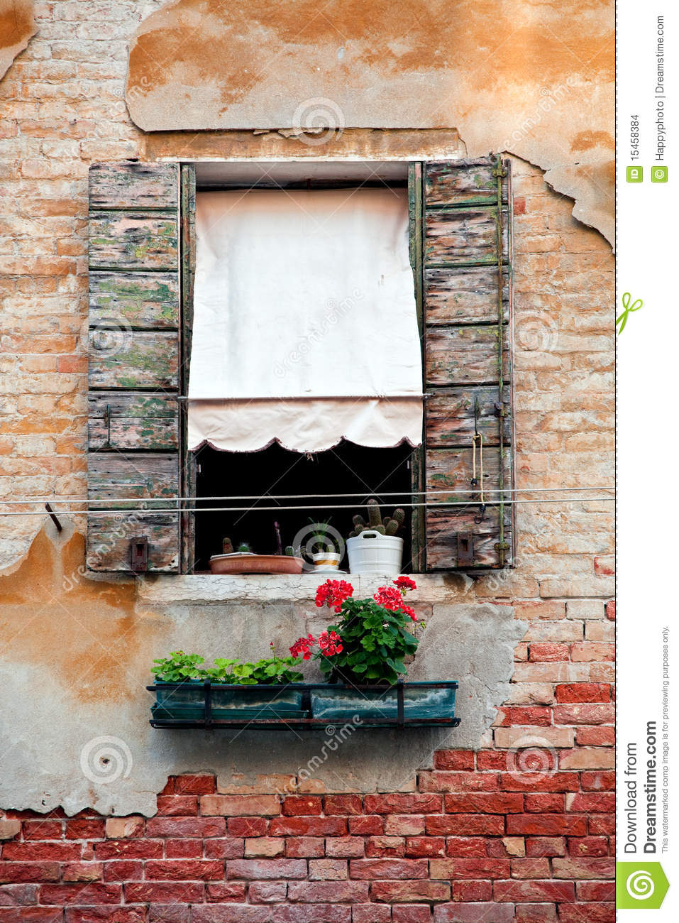 Rustic Window With Shutters In Old Venice House Stock