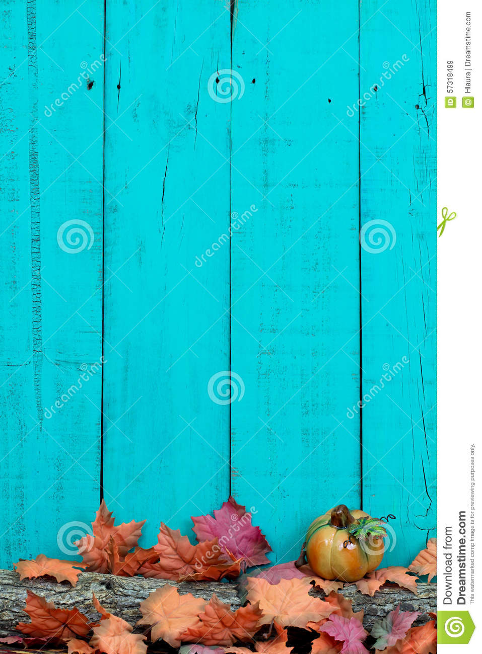 Rustic Wood Background With Autumn Leaves And Log Border