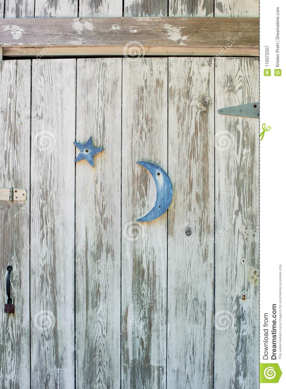 Shabby White Washed Door With Blue Moon And Star - Vertical Form