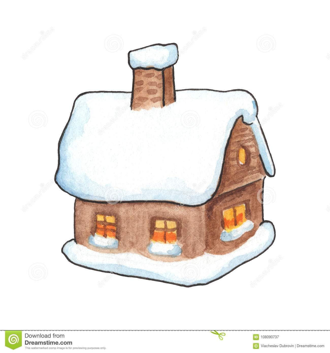 Rustic Wood House In Snow Watercolor Illustration Village