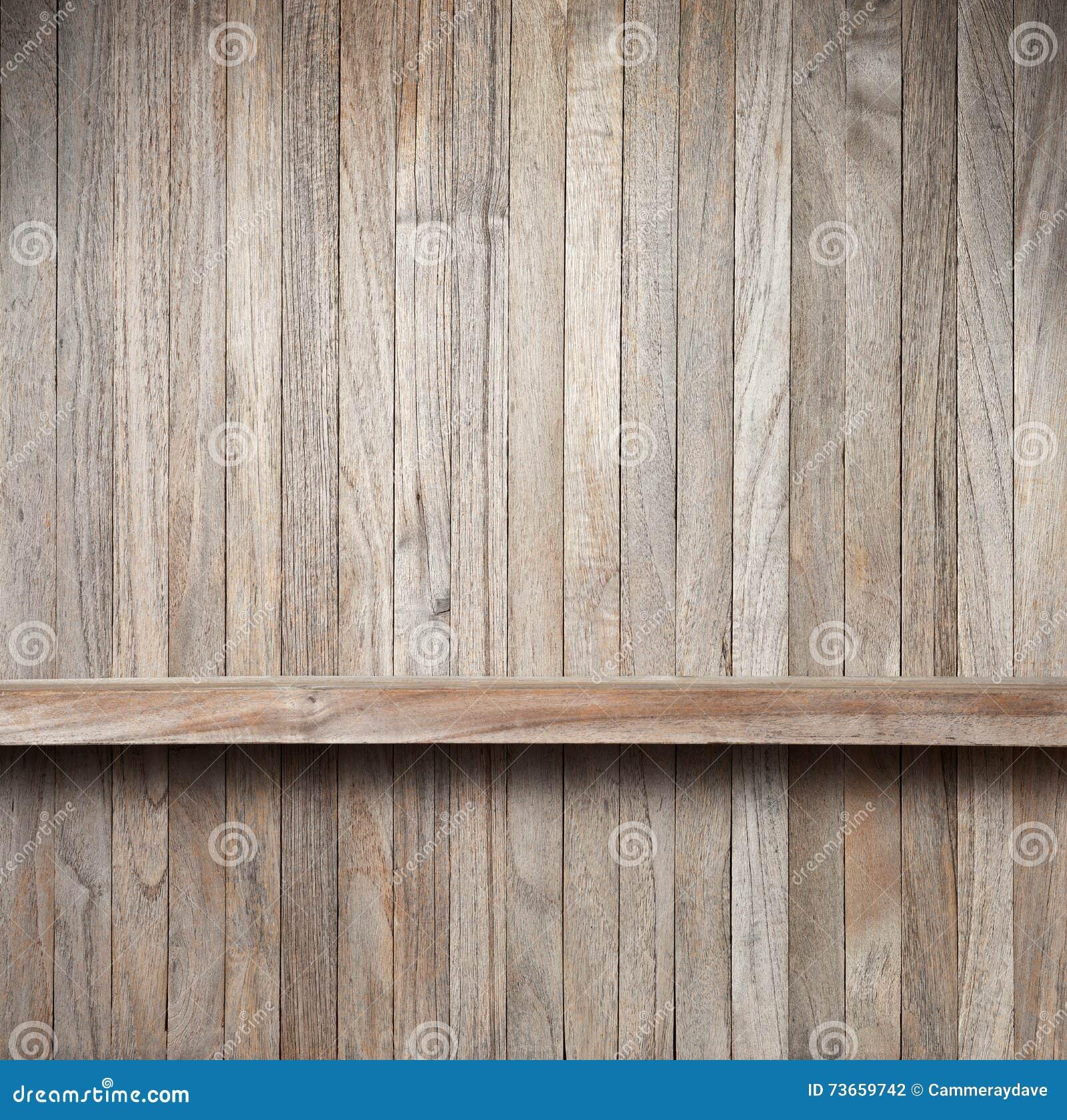 Rustic Wood Shelf Background Stock Photo