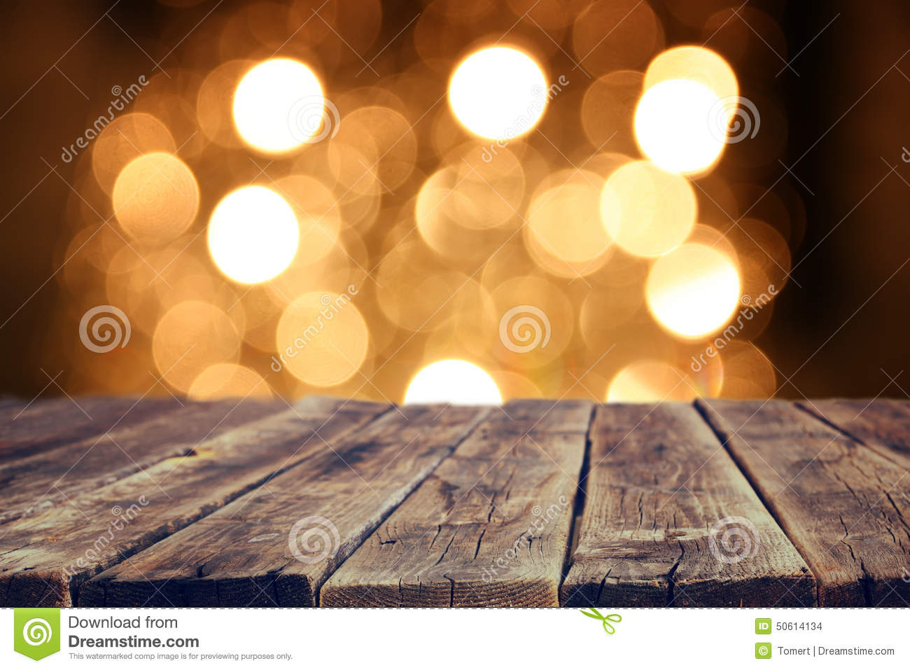 bokeh bright front glitter gold rustic table wood