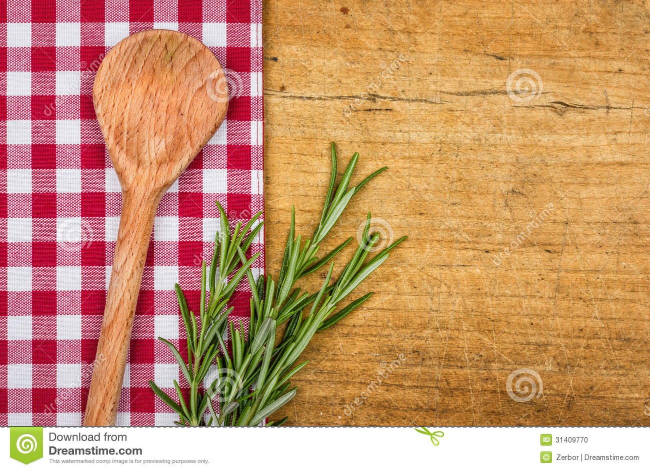 Rustic Wooden Background With Checkered Tablecloth Stock ...