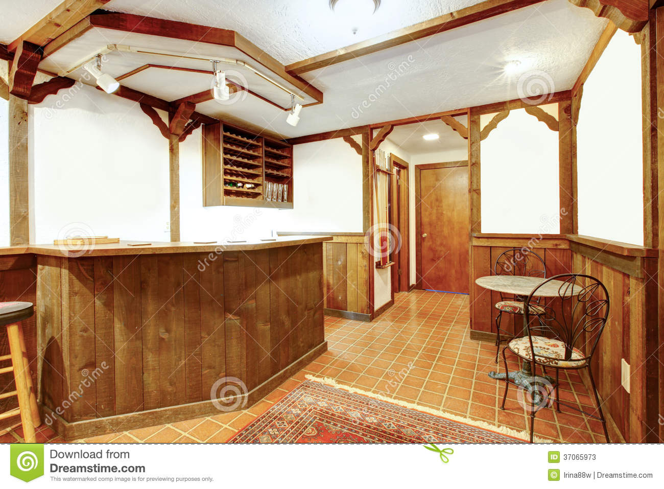 Rustic wooden bar room stock image Image of room living