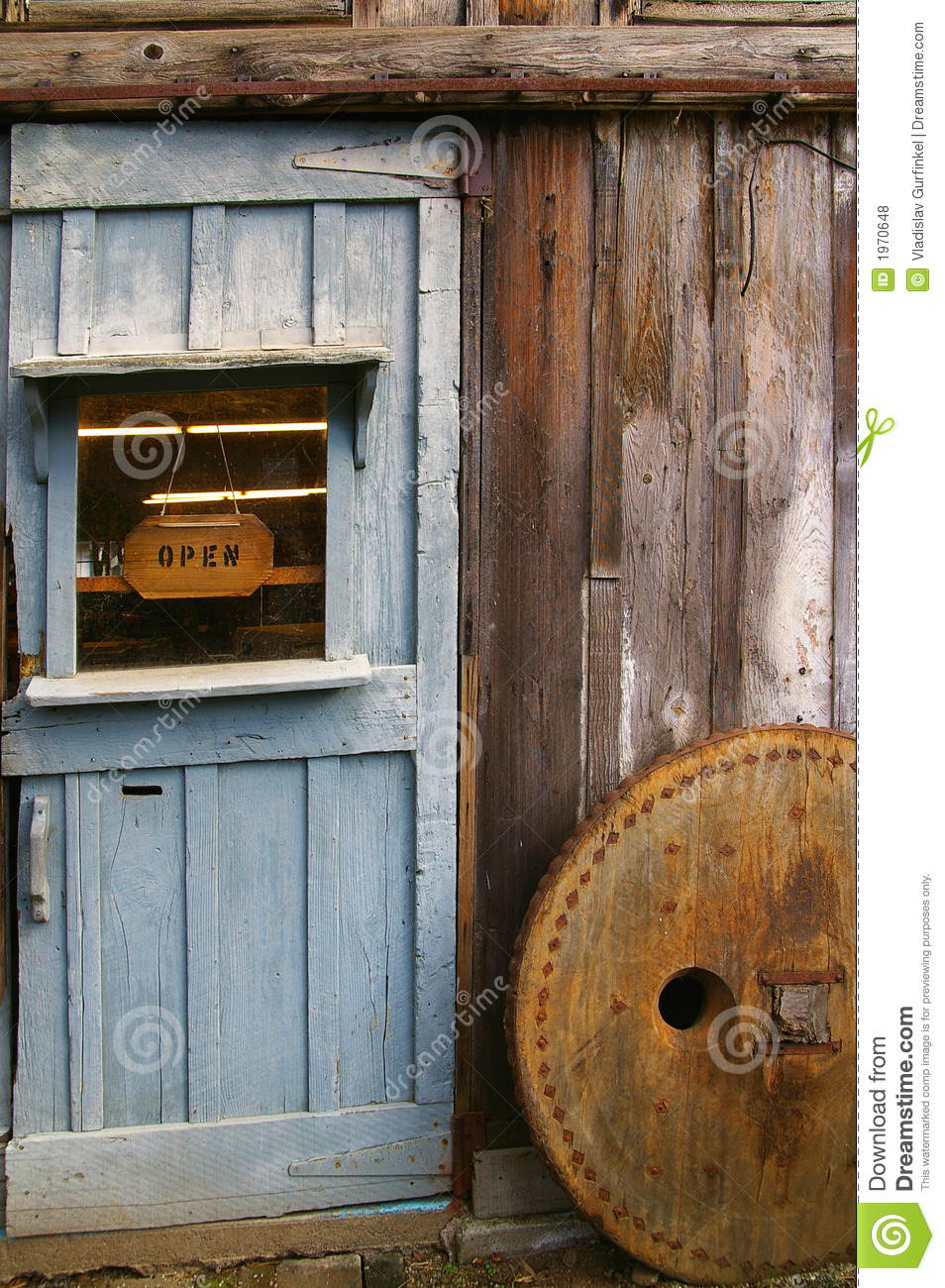 Rustic wooden barn door stock photo image of window