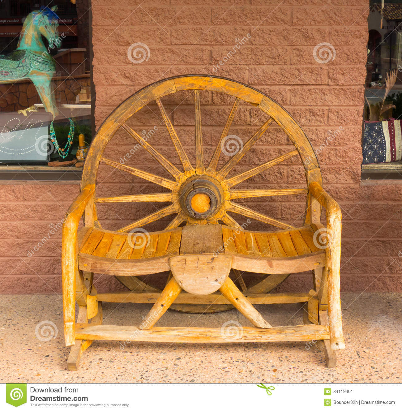 Awe Inspiring A Rustic Wooden Bench In Front Of A Store In Sedona Stock Machost Co Dining Chair Design Ideas Machostcouk