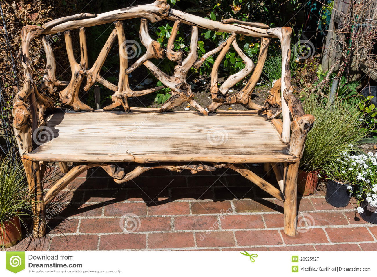 Rustic Wooden Bench Royalty Free Stock Photography - Image ...