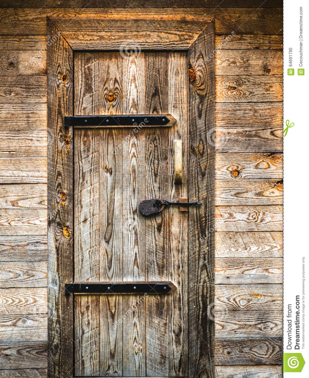 Marvelous Royalty Free Stock Photo. Download Rustic Wooden Door With Metal Hinges ...