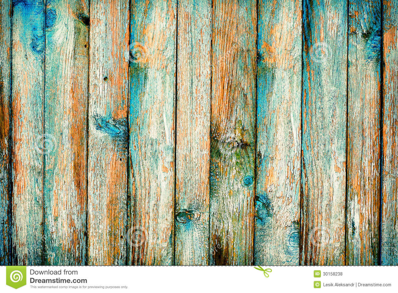 Rustic Wooden Fence Purification Of Blue Paint Stock Photo